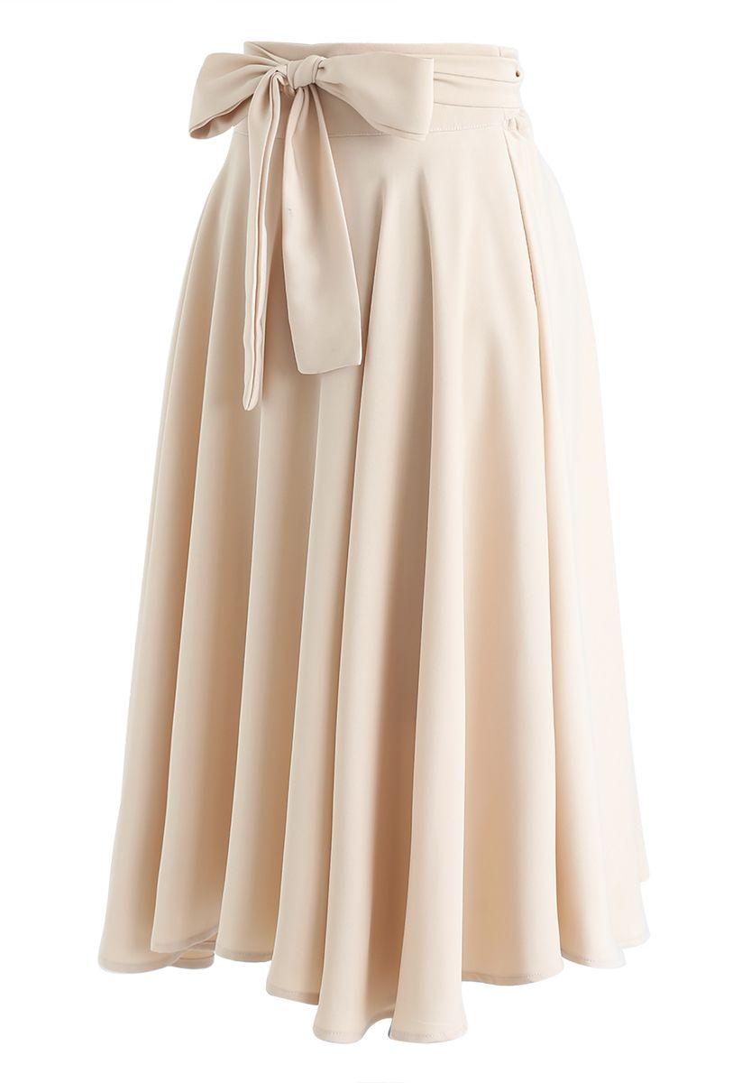 Flare Hem Bowknot Waist Midi Skirt in Light Tan