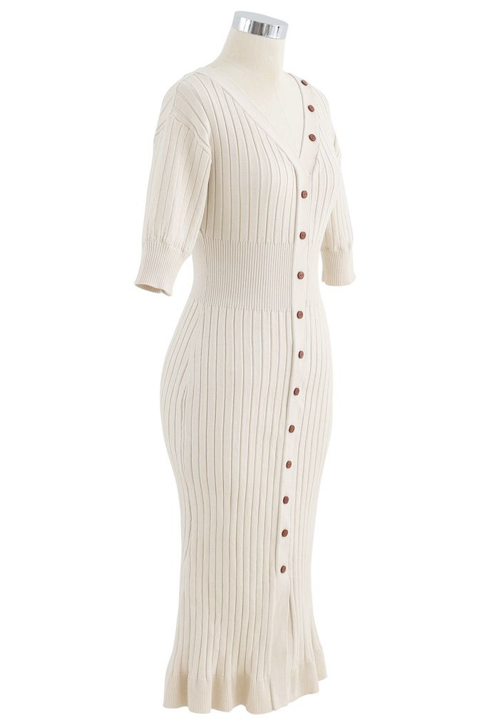 V-Neck Ruffle Button Trim Ribbed Knit Midi Dress in Cream