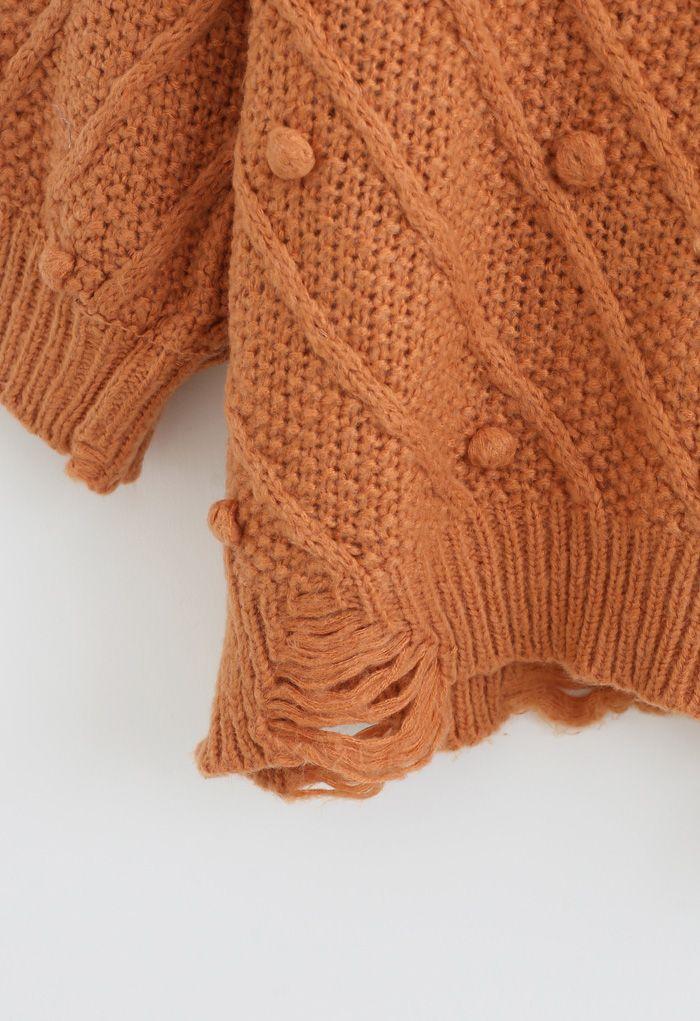 Raw Hem Pom-Pom Oversize Knit Sweater in Orange