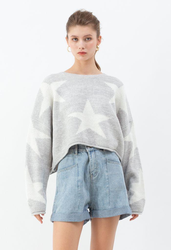 Star Pattern Cropped Roll-Hem Sweater