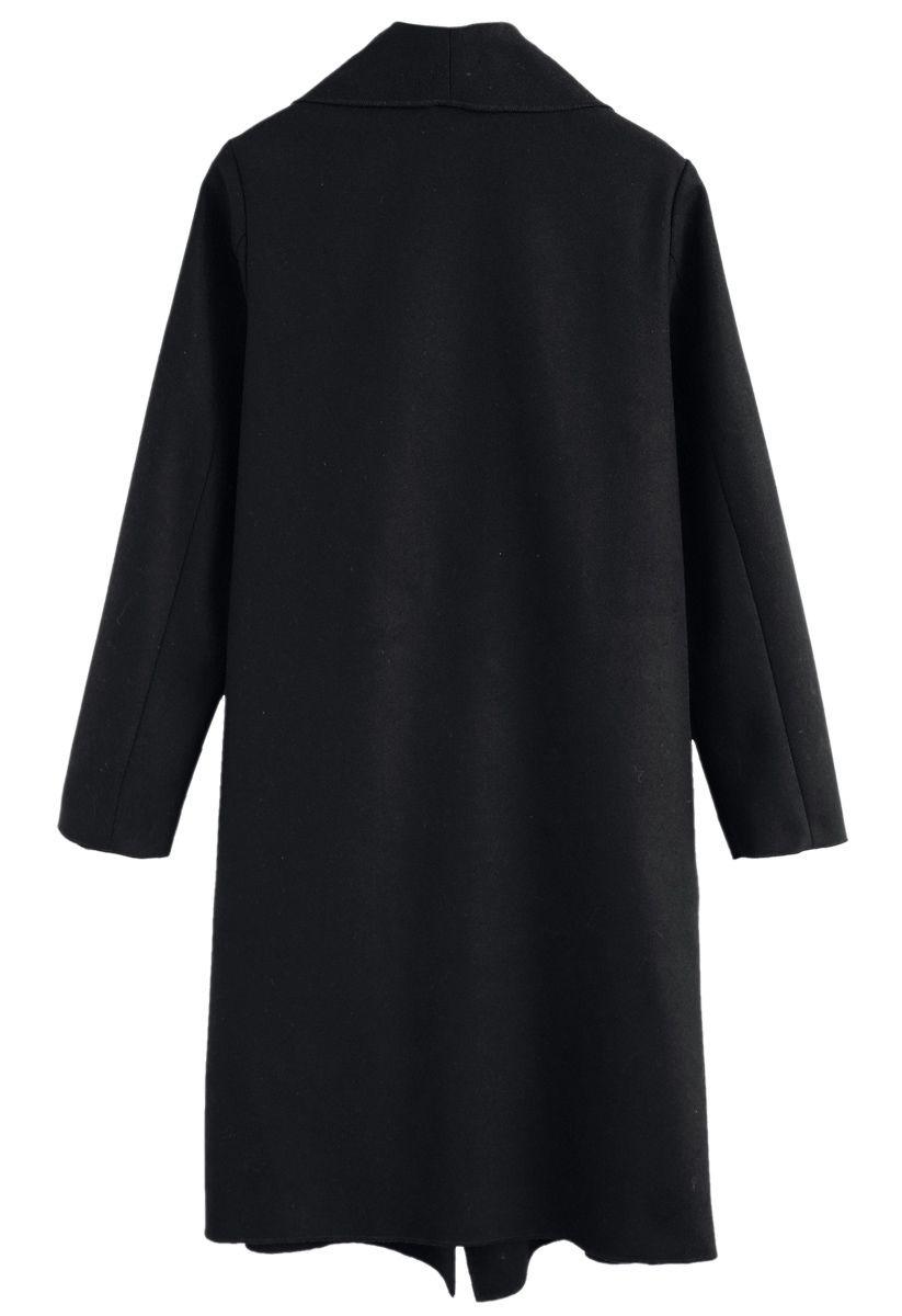 Abrigo Free Myself Open Front Wool-Blend en negro
