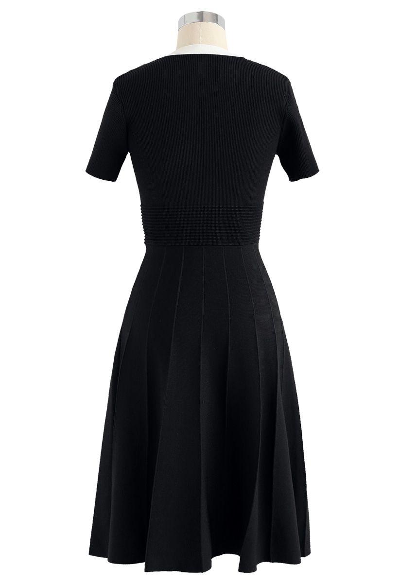 Vestido de punto Bowknot de Take A Ride With Me en negro