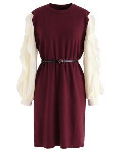 Belted Ruffle Sleeves Spliced Knit Shift Dress in Wine