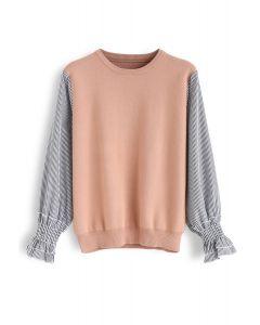 Stripe Sleeves Spliced Knit Top in Peach