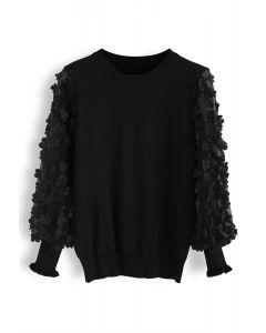 3D Flower Mesh Sleeves Knit Top in Black