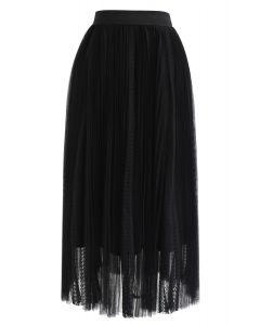 Exquisite Mesh Lace Pleated Midi Skirt in Black