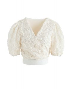 3D Roses Wrapped Crop Top in Cream