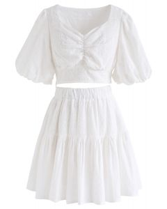 Sweetheart Floral Embroidery Puff-Sleeved Crop Top and Skirt Set in White