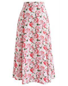 Red Rose Printed A-Line Midi Skirt