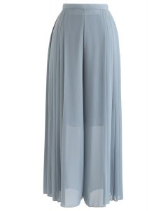 Pleated Wide-Leg Chiffon Pants in Teal