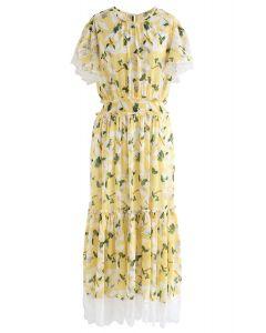 Lush Branches Frilling Chiffon Dress in Yellow