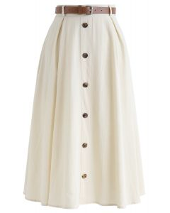 Buttoned Belted A-Line Midi Skirt in Cream