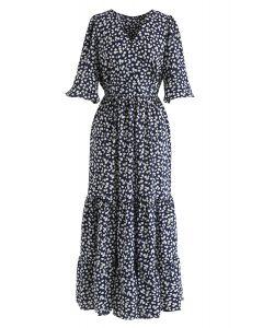 Sunshine Daisy Print Wrapped Frill Maxi Dress