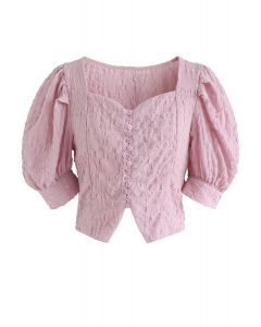Sweetheart Neck Button Down Crop Top in Pink