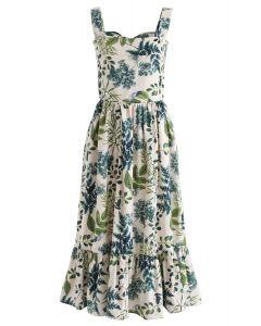 Natural Leaves Printed Linen-Blend Dress