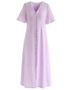 Eyelet Embroidery Button Down Dress in Lilac