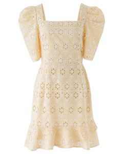 Zigzag Eyelet Floral Embroidered Square Neck Mini Dress in Apricot