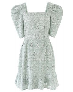 Zigzag Eyelet Floral Embroidered Square Neck Mini Dress in Pea Green