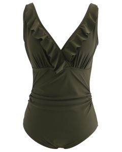 Open Back Ruffle Trim V-Neck One-Piece Swimsuit