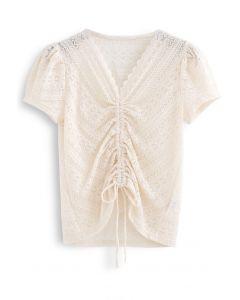 Drawstring Wavy V-Neck Lace Top in Cream