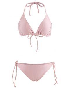 Self-Tied String Halter Bikini Set in Dusty Pink