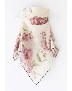 Floral Print Chiffon Sun Protection For The Face in Ivory