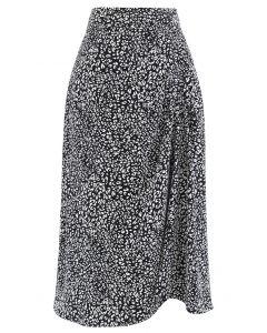 Animal Print Side Ruched Midi Skirt in Black