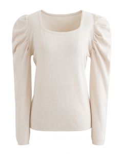Square Neck Bubble Sleeves Knit Top in Cream