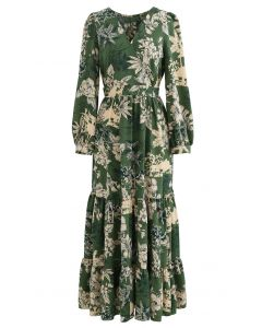 Floral Land Wrap Ruffle Maxi Dress in Green