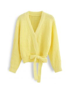 Wrap Bowknot Chunky Knit Sweater in Yellow