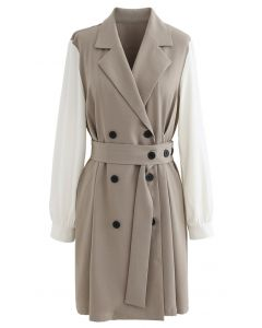Contrast Color Double-Breasted Chiffon Trench Coat in Light Tan