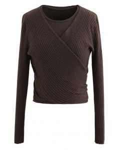 Two-Piece Soft Knit Cropped Top in Brown