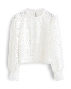 Panelled Full Crochet Sleeves Top in White