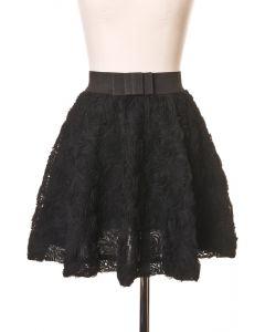 Falda Negra con Diseño de Rosas