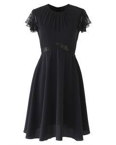 Lace Trim Flare Midi Dress in Black