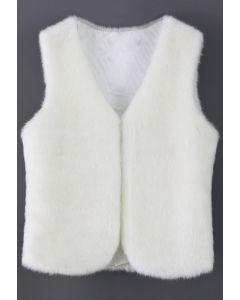 Chaleco de piel sintética blanca