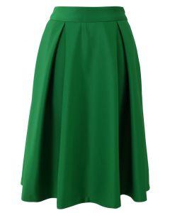 Falda midi de una línea completa en verde