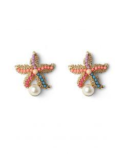 Pendientes de Estrella de Mar con Adorno de Perla
