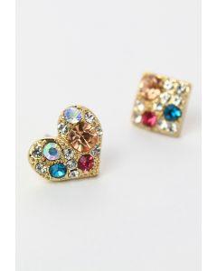 Set de Pendientes de Diamantes en Forma de Corazón y Cuadrado