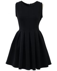 Vestido Sin Mangas Estilo Patinadora Color Negro