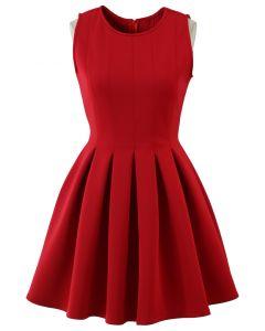 Vestido Sin Mangas Estilo Patinadora Color Rojo