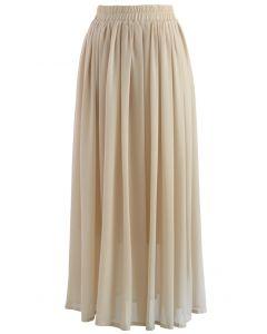 Maxi Falda de Chifón Color Nude