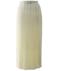 Maxi Falda de Chifón Plisada en Color Crema