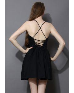 Revitalized Black Ajustable Tie Back Dress