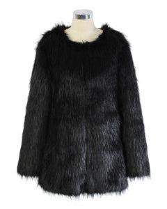 Glamoroso Abrigo Chicwish de Piel Sintética Negro