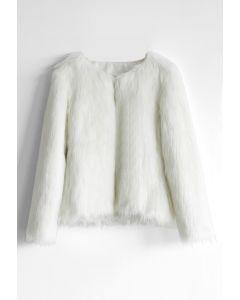Elegante Abrigo en Piel Sintética Blanca