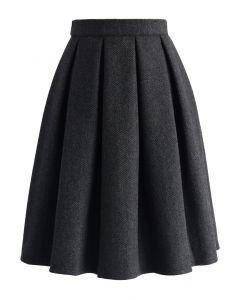 Falda de sarga plisada de mezcla de lana