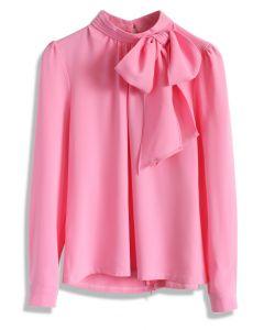 Romántica Blusa en Rosa Pastel