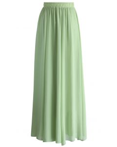 Maxi Falda en Color Verde Claro