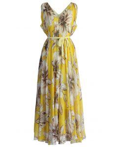 Maravilloso Maxi Vestido Floral en Chifón Amarillo